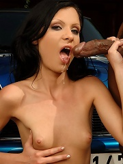 Very hot brunette is gets fucked by a might rod