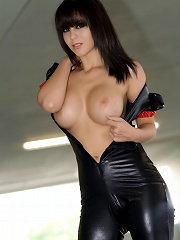 Bryci in a leather suit and red heels! HOT.